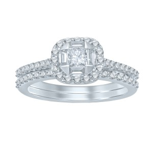 White Gold 1ct TDW Princess Center Diamond Bridal Set - Handcrafted By Name My Rings™