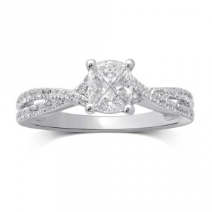 White Gold 3/4ct TDW Invisible Cushion-cut Diamond Fashion Ring - Handcrafted By Name My Rings™
