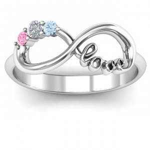 Personalised Customised Infinity Promise Ring With Birthstone Infinity Love Ring - Handcrafted By Name My Rings™