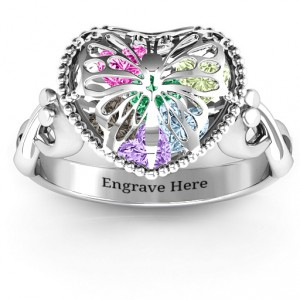 Personalised Butterfly Caged Hearts Ring with Infinity Band - Handcrafted By Name My Rings™