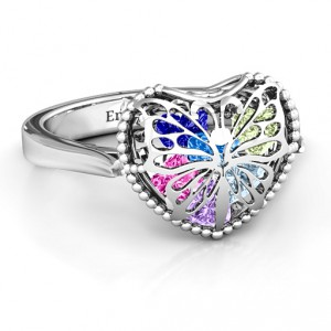 Personalised Butterfly Caged Hearts Ring with Ski Tip Band - Handcrafted By Name My Rings™