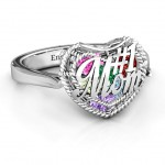 Personalised #1 Mom Caged Hearts Ring with Ski Tip Band - Handcrafted By Name My Rings™