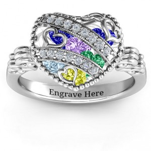 Personalised Sparkling Hearts Caged Hearts Ring with Butterfly Wings Band - Handcrafted By Name My Rings™