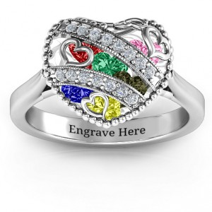Personalised Sparkling Hearts Caged Hearts Ring with Ski Tip Band - Handcrafted By Name My Rings™