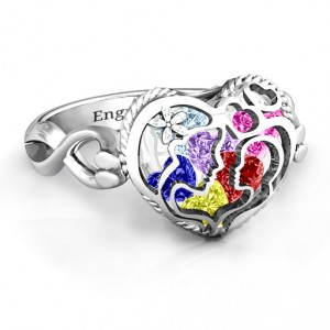 Personalised Mother and Child Caged Hearts Ring with Infinity Band - Handcrafted By Name My Rings™