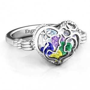 Personalised Mother and Child Caged Hearts Ring with Butterfly Wings Band - Handcrafted By Name My Rings™