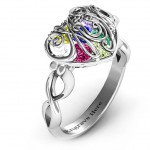 Personalised Cursive Mom Caged Hearts Ring with Infinity Band - Handcrafted By Name My Rings™