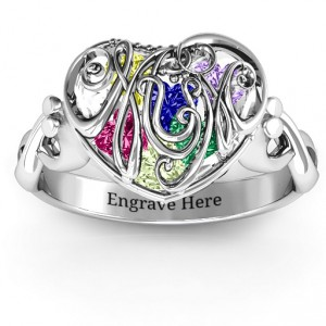 Personalised #1 Mom Caged Hearts Ring with Infinity Band - Handcrafted By Name My Rings™