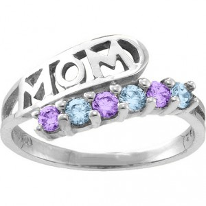 Personalised Cherish MOM Cutout 26 Stones Ring - Handcrafted By Name My Rings™