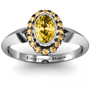 Personalised Royal Bezel Set Oval Cluster Ring - Handcrafted By Name My Rings™