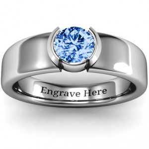 Personalised Spectacular Sophie Bezel Set Round Stone Ring - Handcrafted By Name My Rings™