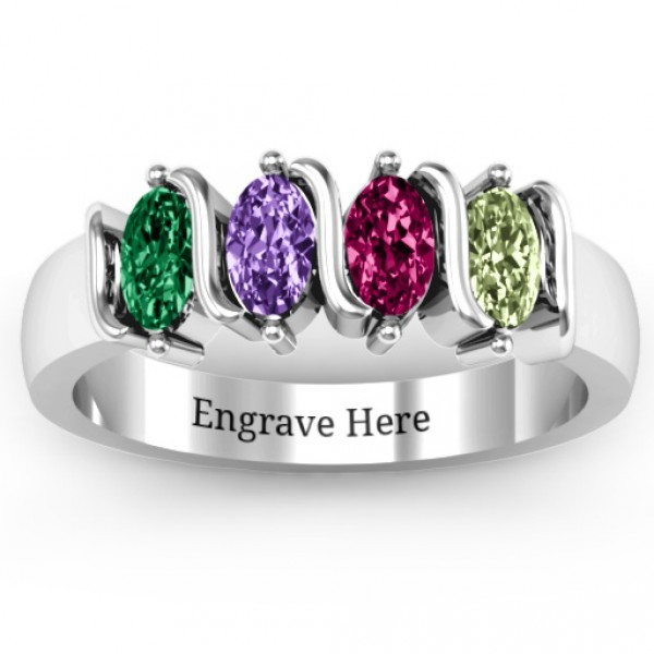 Personalised 25 Oval Stones Ring - Handcrafted By Name My Rings™