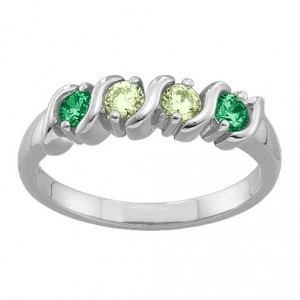 Personalised 26 Gemstones SCurve Ring - Handcrafted By Name My Rings™