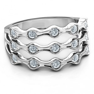 Personalised 3 Row Fashion Wave Ring - Handcrafted By Name My Rings™