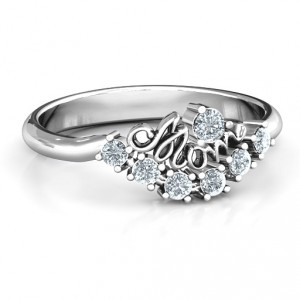 Personalised 4 9 Stone Mom's Glimmering Love Ring - Handcrafted By Name My Rings™