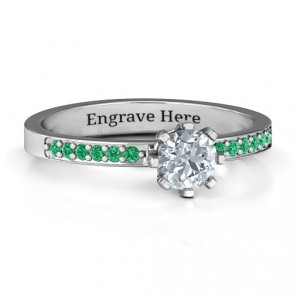 Personalised 8 Prong Solitaire Set Ring with Twin Channel Accent Rows - Handcrafted By Name My Rings™