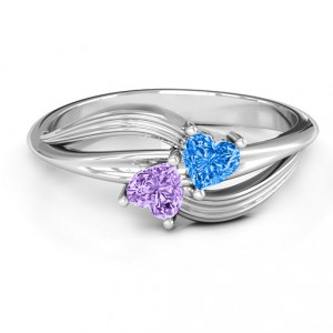 Personalised A Couple of Hearts Ring with Cubic Zirconias Stones - Handcrafted By Name My Rings™