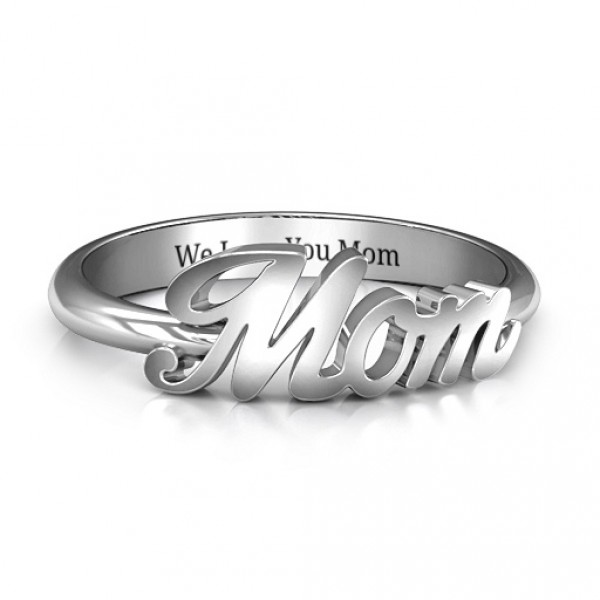 Personalised All About Mom Name Ring - Handcrafted By Name My Rings™