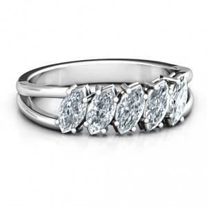 Personalised Angled Marquise Ring - Handcrafted By Name My Rings™
