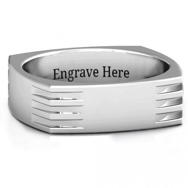Personalised Areo Grooved Squareshaped Men's Ring - Handcrafted By Name My Rings™