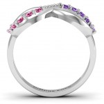 Personalised Birthstone Infinity Accent Ring - Handcrafted By Name My Rings™