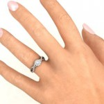 Personalised Braided Floral Cluster Ring with Shoulder Accents - Handcrafted By Name My Rings™