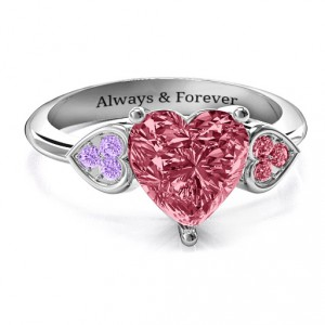Personalised Brilliant Love Accented Heart Ring - Handcrafted By Name My Rings™