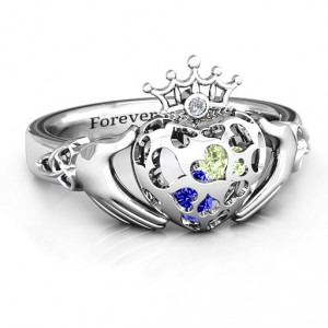 Personalised Caged Hearts Claddagh Ring - Handcrafted By Name My Rings™