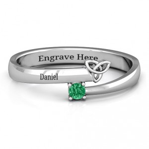 Personalised Celtic Solitaire Bypass Ring - Handcrafted By Name My Rings™