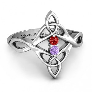Personalised Celtic Sparkle Ring with Interwoven Infinity Band - Handcrafted By Name My Rings™