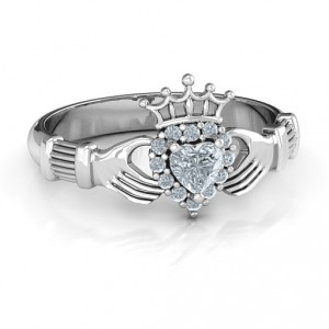Personalised Claddagh with Halo Ring - Handcrafted By Name My Rings™