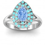 Personalised Cleopatra Double Halo Ring - Handcrafted By Name My Rings™