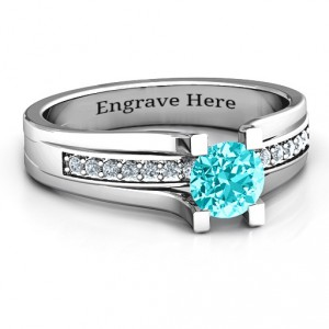Personalised Column Set Solitaire Ring - Handcrafted By Name My Rings™