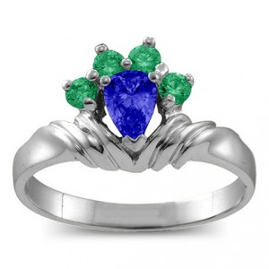 Personalised Crown Pear 28 Stones Ring - Handcrafted By Name My Rings™