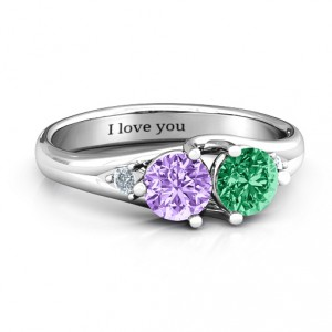 Personalised Darling Duo Double Gemstone Ring - Handcrafted By Name My Rings™