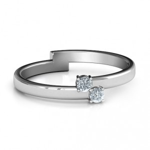 Personalised Diagonal Dazzle Ring With 23 Gemstones - Handcrafted By Name My Rings™