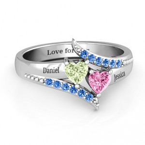 Personalised Diagonal Dream Ring With Heart Stones - Handcrafted By Name My Rings™