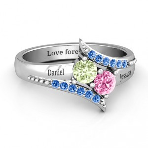 Personalised Diagonal Dream Ring With Round Stones - Handcrafted By Name My Rings™