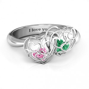 Personalised Double Heart Cage Ring with 16 Heart Shaped Birthstones - Handcrafted By Name My Rings™