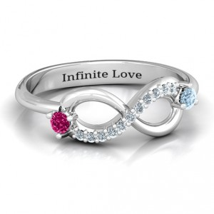 Personalised Double Stone Infinity Accent Ring - Handcrafted By Name My Rings™