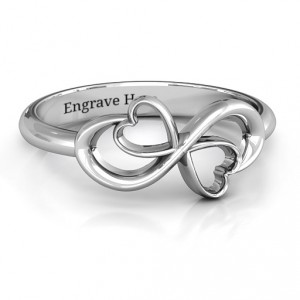Personalised Duo of Hearts Infinity Ring - Handcrafted By Name My Rings™