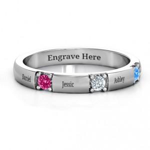 Personalised Elegant Three Gemstone Ring - Handcrafted By Name My Rings™