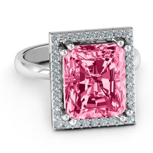 Personalised Emerald Cut Statement Ring with Halo - Handcrafted By Name My Rings™