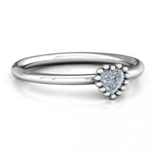 Personalised Encircled Prong Heart Ring - Handcrafted By Name My Rings™