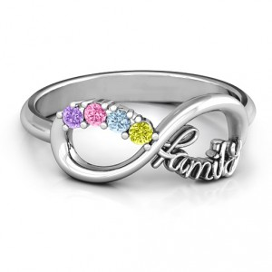 Personalised Family Infinite Love with Stones Ring - Handcrafted By Name My Rings™