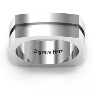 Personalised Fissure Grooved Squareshaped Men's Ring - Handcrafted By Name My Rings™