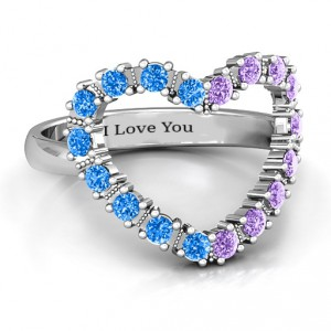 Personalised Floating Heart with Stones Ring - Handcrafted By Name My Rings™