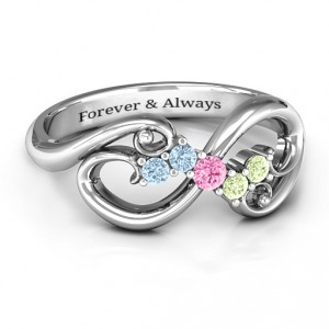 Personalised Flourish Infinity Ring with Gemstones - Handcrafted By Name My Rings™