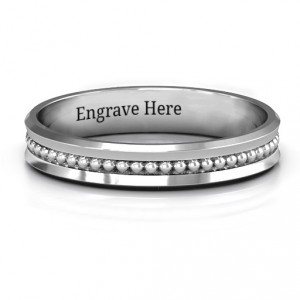 Personalised Forge Beaded Groove Bevelled Women's Ring - Handcrafted By Name My Rings™