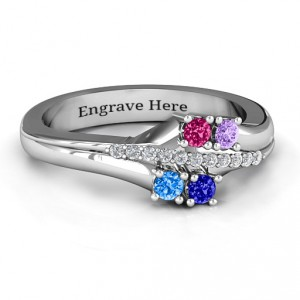 Personalised Four Stone Ring with Accents - Handcrafted By Name My Rings™